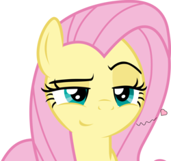 Size: 1084x1024 | Tagged: safe, artist:twilirity, edit, vector edit, angel bunny, fluttershy, pegasus, pony, she talks to angel, amused, bedroom eyes, body swap, bronybait, close-up, come hither, female, flirting, intrigued, lidded eyes, looking at you, male and female, mare, raised eyebrow, simple background, smiling, smirk, solo, transparent background, vector