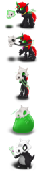 Size: 465x1717 | Tagged: artist:bladedragoon7575, bipedal, bondage, bone, changeling, crossover, cubone, encasement, jewelry, magic, male, oc, oc:crypto, oc only, pendant, pokefied, pokémon, safe, skull, solo, species swap, telekinesis, transformation, transformation sequence, transformed