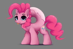 Size: 1246x846 | Tagged: safe, artist:hitbass, pinkie pie, donut pony, food pony, original species, pony, :p, :t, cheek fluff, chest fluff, cute, diapinkes, donut, donyatsu, ear fluff, female, food, gray background, leg fluff, looking at you, mare, not salmon, ponified, ponk, race swap, simple background, smiling, solo, tongue out, wat