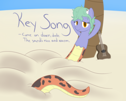 Size: 2000x1600 | Tagged: artist:mightyshockwave, beach, buried in sand, lamia, oc, ocean, oc:key song, original species, palm tree, safe, sand, snake pony, tree, ukulele