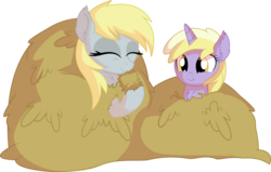 Size: 9215x5877 | Tagged: safe, artist:cyanlightning, derpy hooves, dinky hooves, pegasus, pony, unicorn, .svg available, absurd resolution, cute, derpabetes, dinkabetes, eating, equestria's best daughter, equestria's best mother, eyes closed, female, filly, hay, hay bale, herbivore, horses doing horse things, mare, mother and daughter, silly, silly pony, simple background, solo, transparent background, vector