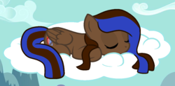 Size: 996x496 | Tagged: safe, artist:moonlightdisney5, oc, oc:heartburn, pegasus, pony, sleeping on cloud, solo
