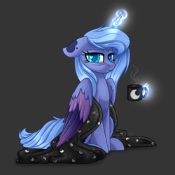 Size: 5000x5000 | Tagged: absurd res, artist:lavenderheartsmlp, blanket, coffee, coffee mug, colored wings, female, grumpy, heart eyes, magic, mare, mug, pony, princess luna, s1 luna, safe, solo, tired, wingding eyes, wings
