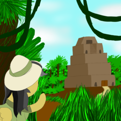 Size: 1000x1000 | Tagged: safe, artist:shoophoerse, daring do, pegasus, pony, atg 2019, female, jungle, newbie artist training grounds, solo, temple, vine
