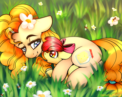 Size: 3000x2388   Tagged: safe, alternate version, artist:cornelia_nelson, apple bloom, pear butter, bee, earth pony, pony, adorabloom, bow, cute, duo, female, filly, floppy ears, flower, flower in hair, grass, hair bow, looking at each other, mare, mother and daughter, pearabetes, weapons-grade cute