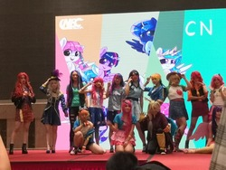 Size: 960x720   Tagged: safe, applejack, discord, fluttershy, pinkie pie, rainbow dash, rarity, starlight glimmer, sunset shimmer, trixie, twilight sparkle, alicorn, human, equestria girls, equestria girls series, china, china ponycon, clothes, cosplay, costume, humane five, humane seven, humane six, irl, irl human, photo, twilight sparkle (alicorn)