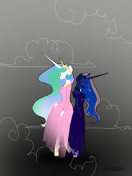 Size: 3096x4128 | Tagged: anthro, artist:livitoza, clothes, crying, dress, female, horn, long horn, princess celestia, princess luna, safe, siblings, sisters