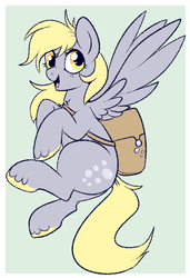 Size: 461x673 | Tagged: safe, artist:lulubell, derpy hooves, pegasus, pony, female, flying, mailbag, mailmare, mare, simple background, solo