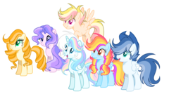 Size: 3056x1632 | Tagged: alicorn, artist:thesmall-artist, base used, earth pony, female, male, mare, oc, oc:blue, oc:butterfly, oc:hope, oc only, oc:orange sun, oc:sunrise sky, oc:water star, pegasus, pony, safe, simple background, stallion, transparent background