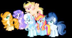 Size: 3056x1632 | Tagged: safe, artist:thesmall-artist, oc, oc only, oc:blue, oc:butterfly, oc:hope, oc:orange sun, oc:sunrise sky, oc:water star, alicorn, earth pony, pegasus, pony, base used, female, male, mare, simple background, stallion, transparent background