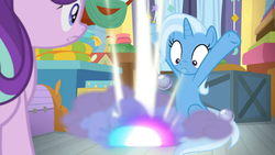 Size: 1920x1080 | Tagged: safe, screencap, starlight glimmer, trixie, pony, a horse shoe-in