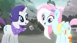 Size: 1366x768 | Tagged: amputee, color, kerfuffle, prosthetic leg, prosthetic limb, prosthetics, rainbow roadtrip, rarity, safe, screencap, spoiler:rainbow roadtrip
