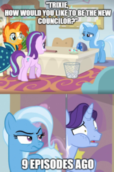 Size: 493x741 | Tagged: a horse shoe-in, comparison, edit, edited screencap, friendship student, meme, november rain, op has a point, phyllis, pony, safe, school of friendship, screencap, spoiler:s09e11, spoiler:s09e20, starlight glimmer, student counsel, sunburst, text, text edit, trixie, truth, unicorn