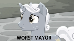 Size: 1272x716   Tagged: safe, edit, edited screencap, screencap, sunny skies, pony, rainbow roadtrip, background pony strikes again, desaturated, op is a duck, op is trying to start shit, sad