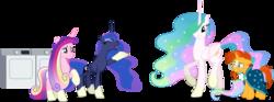 Size: 4978x1843   Tagged: safe, anonymous artist, artist:90sigma, artist:decprincess, artist:illumnious, artist:rutgernl, edit, edited edit, editor:slayerbvc, vector edit, princess cadance, princess celestia, princess luna, sunburst, alicorn, pony, accessory-less edit, alicorn triarchy, clothes, dryer, female, glasses, grin, laundry, male, mare, missing accessory, ponies wearing sunburst's socks, raised hoof, robe, simple background, smiling, sockless sunburst, socks (coat marking), stallion, sunburst's glasses, sunburst's robe, transparent background, vector, washing machine