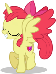 Size: 1405x1869 | Tagged: alicorn, alicornified, apple bloom, artist:raindashesp, bloomicorn, cutie mark, female, filly, pony, race swap, safe, simple background, the cmc's cutie marks, transparent background, vector, xk-class end-of-the-world scenario
