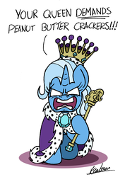 Size: 1427x2019 | Tagged: angry, artist:bobthedalek, atg 2019, cane, cape, clothes, crown, jewelry, newbie artist training grounds, queen, queen trixiana the first, regalia, safe, that pony sure does love peanut butter crackers, trixie, you're going to love me