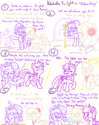 Size: 1280x1611 | Tagged: adorkable, adorkable twilight, alicorn, artist:adorkabletwilightandfriends, capitalism, catwalk, clothes, clothes hanger, coat hanger, coco pommel, comic, comic:adorkable twilight and friends, cute, dork, earth pony, fashion, funny, humor, lack of clothing, light, lights, mannequin, pony, rarity, ridiculous, safe, spotlight, the emperor's new clothes, twilight sparkle, twilight sparkle (alicorn), twitch, unicorn, we don't normally wear clothes