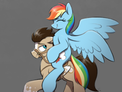 Size: 4000x3000 | Tagged: artist:selenophile, bridle, canon x oc, female, gray background, male, mare, oc, oc:skittle, pegasus, ponies riding ponies, rainbow dash, reins, riding, saddle, safe, shipping, simple background, skidash, stallion, straight, tack