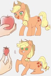 Size: 591x874 | Tagged: safe, artist:yakieringi014, applejack, earth pony, pony, apple, do not want, female, food, mare, strawberry, that pony sure does hate strawberries, want