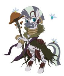 Size: 3000x3514   Tagged: safe, artist:janji009, part of a set, zecora, parasprite, zebra, armor, crossover, female, golgari, jewelry, magic the gathering, mare, mushroom, neck rings, part of a series, piercing, ravnica, shaman, simple background, solo, staff, transparent background