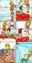 Size: 1192x2316 | Tagged: safe, artist:meiyeezhu, kotobukiya, applejack, double diamond, night glider, torque wrench, human, equestria girls, equestria girls series, rainbow roadtrip, spoiler:rainbow roadtrip, anime, awesome, boat, boots, bucket, chains, clothes, comic, equestria girls-ified, humanized, motorboat, ocean, old master q, parody, pier, reference, riding, sailboat, shoes, shorts, skiing, skis, speech bubble, street lamp, stunt, summer, swimsuit, water skiing, wave, yoke