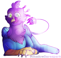 Size: 907x862 | Tagged: artfight, artist:shadowdarespark, griffon, griffonized, kitchen eyes, licking, male, oc, oc:gyro feather, oc:gyro tech, safe, species swap, tongue out