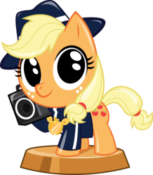 Size: 2865x3291 | Tagged: 80s, applejack, artist:phucknuckl, boombox, clothes, earth pony, female, mare, medallion, my little pocket ponies, part of a set, pocket ponies, pony, retro, safe, simple background, solo, transparent background