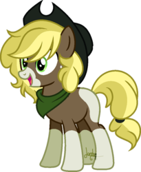 Size: 600x730 | Tagged: artist:t-aroutachiikun, base used, earth pony, hat, male, oc, oc:fuji crisp, offspring, parent:applejack, parents:troublejack, parent:troubleshoes clyde, pony, safe, simple background, solo, stallion, transparent background