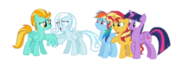 Size: 1080x400 | Tagged: alicorn, artist:detailedatream1991, lightning dust, oc, oc:snow drop, rainbow dash, safe, sunset shimmer, twilight sparkle, twilight sparkle (alicorn)