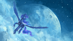 Size: 1920x1080   Tagged: safe, artist:plainoasis, princess luna, alicorn, pony, female, flying, lineless, looking back, mare, moon, painting, smiling, solo, spread wings, wallpaper, wings