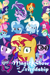 Size: 1424x2110 | Tagged: safe, artist:biggernate91, artist:equinepalette, edit, editor:biggernate91, applejack, fluttershy, pinkie pie, rainbow dash, rarity, sci-twi, starlight glimmer, sunburst, sunset shimmer, trixie, twilight sparkle, alicorn, pony, seapony (g4), fanfic:magic show of friendship, equestria girls, equestria girls series, diamond, equestria girls logo, geode of telekinesis, human ponidox, humane five, humane seven, humane six, logo, magical geodes, mane six, poster, seaponified, seapony starlight glimmer, self ponidox, species swap, square crossover, text, twilight sparkle (alicorn), twolight