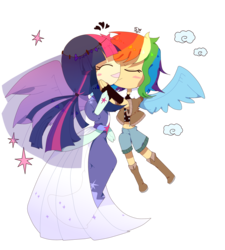 Size: 1800x2000 | Tagged: alicorn, artist:stupid works-stuwor, clothes, female, human, humanized, lesbian, rainbow dash, safe, see-through, shipping, simple background, transparent background, twidash, twilight sparkle, twilight sparkle (alicorn), winged humanization, wings