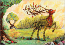 Size: 4000x2815 | Tagged: safe, artist:konsumo, the great seedling, deer, going to seed, apple, apple tree, applejack's hat, cowboy hat, food, hat, intertwined trees, pear tree, scenery, scenery porn, solo, sweet apple acres, traditional art, tree