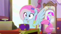 Size: 1920x1080 | Tagged: amputee, box, cash register, colored, color edit, edit, edited screencap, kerfuffle, mirror, pegasus, pony, prosthetic leg, prosthetic limb, prosthetics, rainbow roadtrip, rarity, safe, saturated, screencap, spoiler:rainbow roadtrip, spread wings, surprised, wingboner, wings