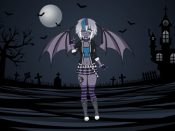 Size: 1600x1200 | Tagged: safe, artist:kathara_khan, oc, oc only, oc:elizabat stormfeather, bat, human, belly button, bellyring, belt, boots, choker, clothes, converse, cute, devil horn (gesture), eyebrow piercing, female, fingerless gloves, gloves, grave, gravestone, graveyard, horn, horned humanization, humanized, humanized oc, jacket, kisekae, leather jacket, midriff, miniskirt, moon, one eye closed, piercing, pony coloring, shoes, skirt, snake bites, sneakers, socks, solo, spiked choker, spiked wristband, sports bra, striped socks, tattoo, thigh highs, thighs, winged humanization, wings, wink, wristband