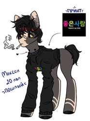 Size: 811x1092 | Tagged: safe, artist:hellishprogrammer, oc, oc only, oc:max, earth pony, pony, bandaid, black sclera, blank flank, cigarette, clothes, colored sclera, cyrillic, ear piercing, earring, headband, heart, hoodie, jewelry, male, markings, piercing, ponified, ponysona, russian, shirt, simple background, smoke, smoking, solo, stallion, t-shirt, tattoo, white background