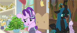 Size: 2264x988 | Tagged: a horse shoe-in, changeling, changeling queen, comparison, dead, edit, edited screencap, female, frenemies (episode), log, mean twilight log, mean twilight sparkle, phyllis, plant, pony, queen chrysalis, safe, screencap, spoiler:s09e08, spoiler:s09e20, starlight glimmer, starlight's office, twilog, unicorn, wood