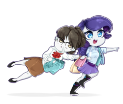 Size: 2600x2200 | Tagged: safe, artist:ellaellylove, rarity, raven, unicorn, equestria girls, best friends, chibi, equestria girls-ified, shopping, white skin