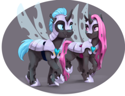 Size: 1320x1020 | Tagged: armor, artist:silfoe, blue changeling, changeling, changeling oc, commission, duo, hoof shoes, oc, oc:aconite, oc:duplicitous, oc only, pink changeling, safe, simple background, transparent background
