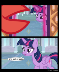 Size: 507x618 | Tagged: alicorn, comic, crab, edit, edited screencap, editor:teren rogriss, female, giant crab, glowing horn, horn, magic, mare, meme, misspelling, open mouth, pony, rarity, rarity fighting a giant crab, safe, school of friendship, screencap, screencap comic, smiling, speech bubble, spoiler:s09e05, telekinesis, the point of no return, twilight sparkle, twilight sparkle (alicorn)