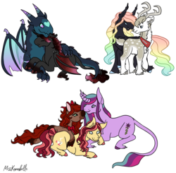 Size: 1946x1910 | Tagged: adopted offspring, alicorn, artist:misskanabelle, bat pony, bat pony alicorn, bat pony oc, classical unicorn, cloven hooves, colored hooves, cuddling, deer, dragonling, earth pony, ethereal mane, female, hybrid, interspecies, interspecies offspring, leonine tail, lesbian, magical lesbian spawn, male, mare, oc, oc:amethyst althaea, oc:carolina chai, oc:chocolat cerise, oc:chordae tendinae, oc:moondancer, oc only, oc:prince zanzibar, oc:snow candy, oc x oc, offspring, offspring shipping, parent:big macintosh, parent:cherry jubilee, parent:fluttershy, parent:king sombra, parent:pinkie pie, parent:princess ember, parent:princess luna, parents:cherryshoes, parents:embrax, parents:fluttermac, parents:lumbra, parent:starlight glimmer, parents:twistarlight, parent:thorax, parent:troubleshoes clyde, parent:twilight sparkle, polyamory, pony, rainbow hair, reindeer, safe, shipping, signature, simple background, starry mane, starry wings, straight, transparent background, unicorn, unshorn fetlocks, wings