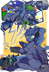 Size: 2031x2952 | Tagged: abstract background, alicorn, alternate hairstyle, android, artist:snowillusory, beard, blanket, changeling, changeling queen, chest fluff, chubbie, clothes, crescent moon, detroit: become human, dog, facial hair, fangs, female, fire flower, gamer luna, goomba, headset, heart, inkling, inkling girl, joycon, kirby, knife, link, moon, mouth hold, nightmare moon, nintendo switch, pillow, piranha plant, plushie, pokémon, pony, princess luna, queen chrysalis, safe, smiling, solo, sonic the hedgehog, sonic the hedgehog (series), speech, splatoon, stars, super mario bros., superstar, the legend of zelda, tongue out, triforce, umbreon, video, waluigi