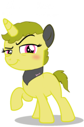 Size: 692x1048 | Tagged: artist:volcanicdash, bandana, base used, child, curly hair, female, filly, oc, oc:sparki, pony, raised hoof, safe, simple background, smug, solo, transparent background, unicorn