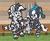 Size: 1100x900 | Tagged: safe, artist:threetwotwo32232, oc, oc only, oc:cotton ball, oc:cotton gin, oc:cotton picker, pony, zebra, bandana, female, looking at you, male, mare, sitting, smiling, stallion, zebra oc