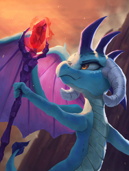 Size: 3000x4000 | Tagged: safe, artist:vanillaghosties, princess ember, dragon, absurd resolution, atg 2019, bloodstone scepter, dragon lord ember, dragoness, female, newbie artist training grounds, smiling, solo