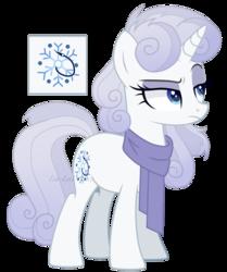 Size: 1280x1532 | Tagged: safe, artist:sweetie-drawz, oc, pony, unicorn, clothes, female, mare, offspring, parent:double diamond, parent:rarity, parents:diamond duo, scarf, simple background, solo, transparent background
