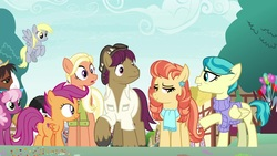 Size: 1920x1080 | Tagged: safe, screencap, aunt holiday, auntie lofty, cheerilee, derpy hooves, mane allgood, scootaloo, snap shutter, trouble shoes, the last crusade, balloon, cutie mark, outdoors, scootaloo's parents, the cmc's cutie marks