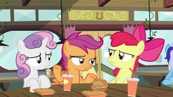 Size: 1280x720 | Tagged: safe, screencap, apple bloom, minuette, scootaloo, sweetie belle, earth pony, pegasus, pony, unicorn, twilight time, burger, cutie mark crusaders, drink, female, filly, food, french fries, hay fries, looking at each other, restaurant, soda, straw, table, window