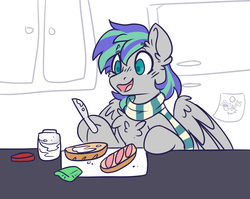 Size: 3329x2647 | Tagged: artist:ruef, chest fluff, clothes, food, hoof hold, jar, male, oc, oc only, oc:storm feather, open mouth, pegasus, pony, refrigerator, safe, sandwich, scarf, smiling, solo, stallion